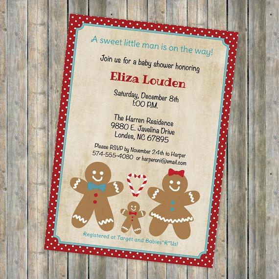 Family Baby Shower Invitations: Christmas Baby Shower Gingerbread Family Invitations