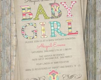 Baby Girl, baby shower invitations, Tan, Mutli-Color Digital, Printable file