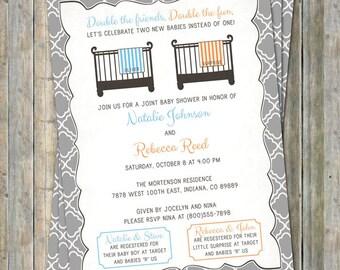 Joint Baby Shower Invitation, crib and blanket, boy/surprise, light blue and orange Digital, Printable file