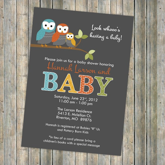 Baby Shower Invitation Mod Baby Shower Invitation With Owls Etsy