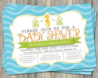 sea horse baby shower invitation, orange, blue, yellow, digital, printable file