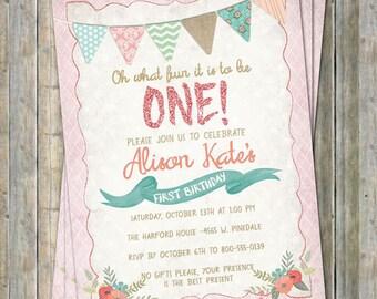 vintage first birthday invitation, digital, printable file