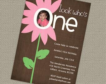 look who's one, flower birthday invitation, digital, printable file