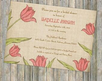 pink tulips bridal shower invitations, digital, printable file