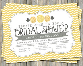 Yellow Chevron Bridal Shower invitation with flowers, yellow and gray,  printable, digital file