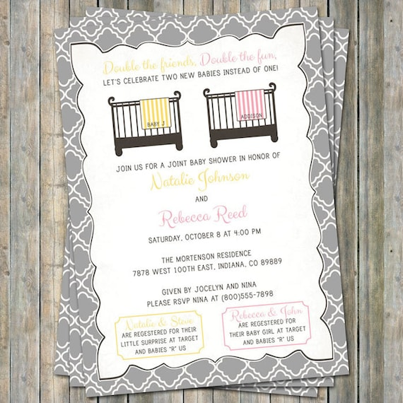 Joint baby shower invitation crib and blanket surprisegirl etsy image 0 filmwisefo