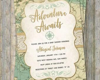 World Baby Shower Invitation, Travel Baby Shower, Adventure Awaits, Digital, Printable file
