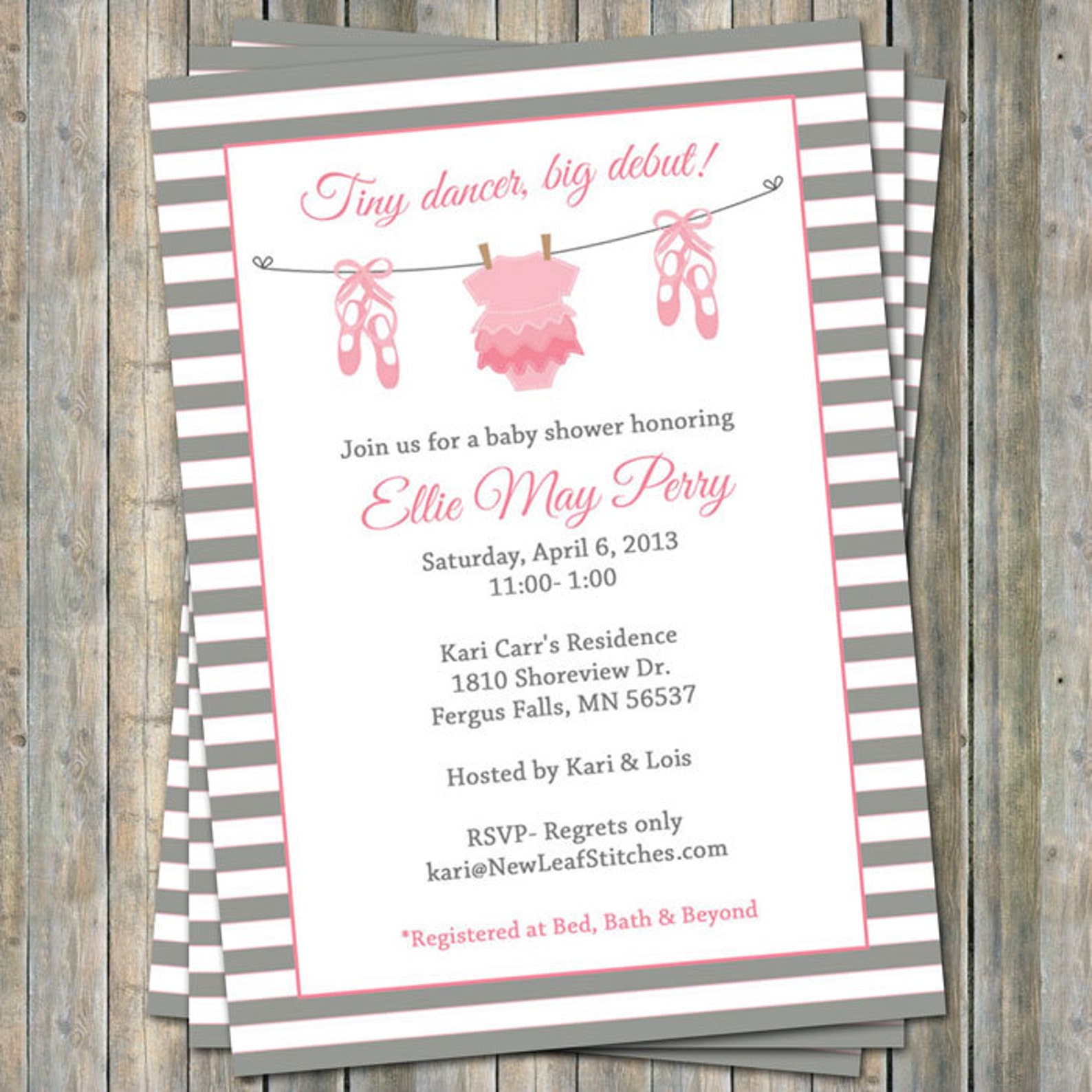 ballet baby shower invitation, baby girl shower, pink and gray, digital, printable file