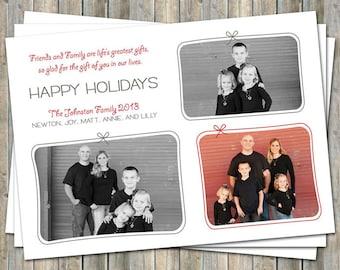 Happy Holidays Card, presents, multiple photo card, digital printable file