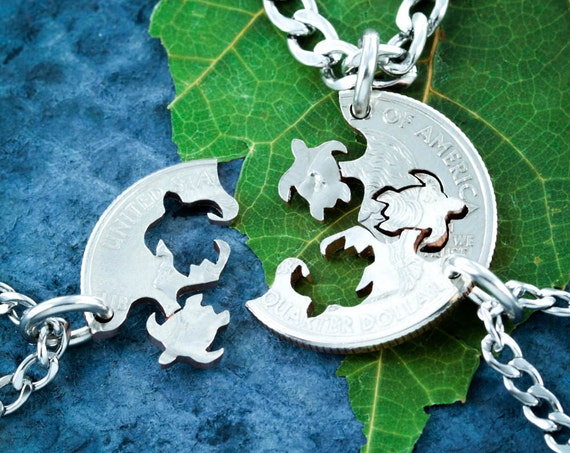 Three Best Friend Turtle Necklaces, 3 BFF Gifts, Friendship interlocking jewelry, Hand Cut Coin