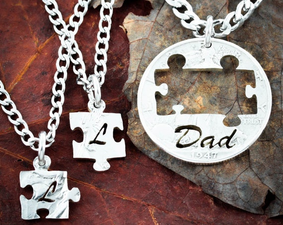 3 Necklaces, Dad Puzzle Necklaces for Fathers and Children Initial Jewelry, Hand Cut Coin