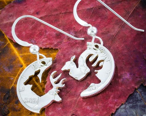 Buck and Doe Silver Earrings, Mercury Dime Cut in Half, Sterling Silver French Hook Earrings