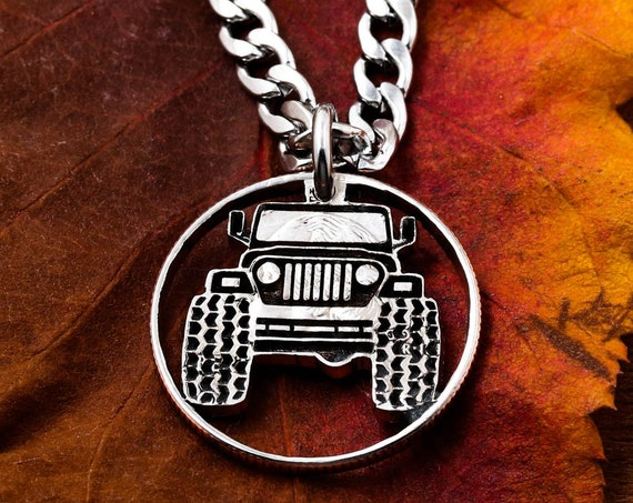 Truck jewelry, 4x4 necklace, Mudding Tires, BFF Gift, Mud Bogging, Big Tires, Cut Coin