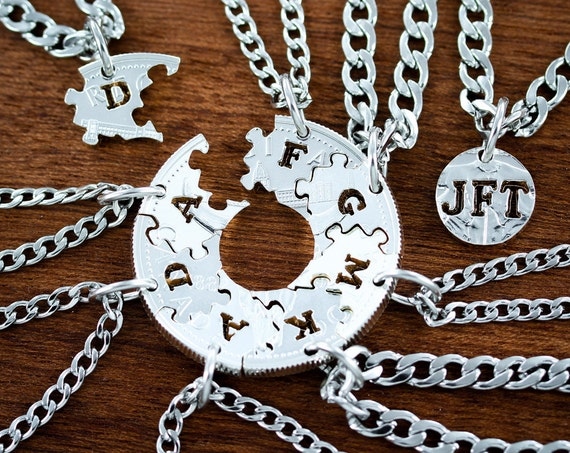 9 Puzzle Piece Necklaces, Interlocking Family Jewelry Set, Hand Cut Silver Dollar