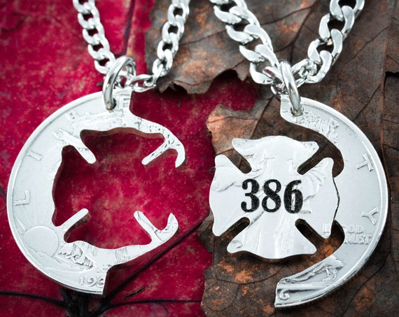 Custom Firefighter and Wife Couples Necklaces, Engraved Number, Interlocking Cut Coin