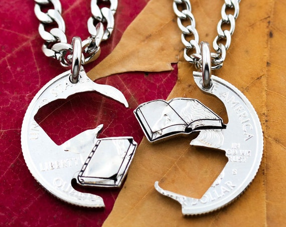 Book Lovers Best Friends Necklaces, Love Reading, Relationship Jewelry, Cut by and from a Coin