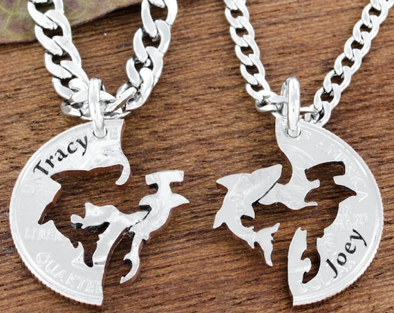 Shark Necklaces, Personalized Names Engraved, Couples or Best Friends Gifts, Hammerhead and Shark, BFF, Interlocking puzzle jewelry