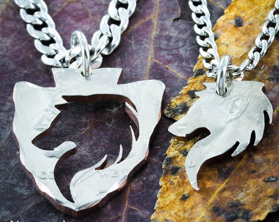 Wolf Arrowhead Necklaces for 2, Couples and Best Friends, Inside and Outside Pieces, Hand Cut Coin