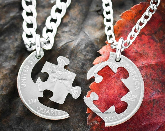 Puzzle Necklaces for 2, Puzzle Piece BFF Jewelry, Couples or Friendship Interlocking Love Quarter, Autism Gift, Hand Cut Coin