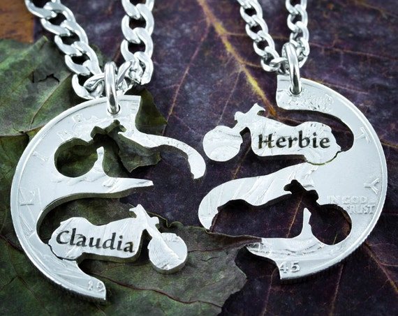 Biker Couples Necklaces with Custom Names Engraved, Motorcycle Jewelry, Interlocking Like a Puzzle, BFF Gifts, Best Friends Forever
