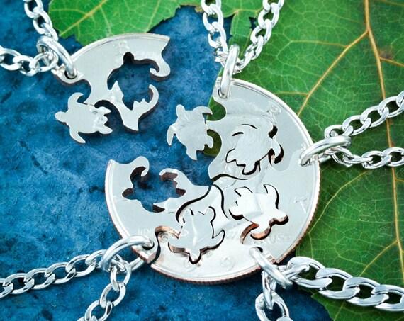 5 Best Friends Sea Turtle Necklaces, 5 BFF Gifts, Friendship Set, Interlocking Hand Cut Coin