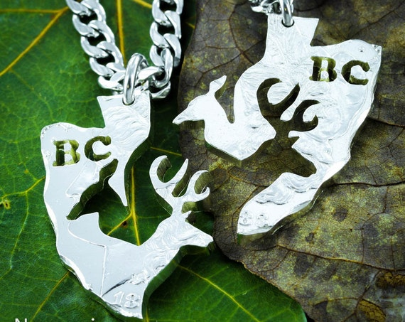 Personalized Buck and Doe, Couples Arrowhead Necklaces, Interlocking Deer Design, Hand Cut Silver Dollar Set
