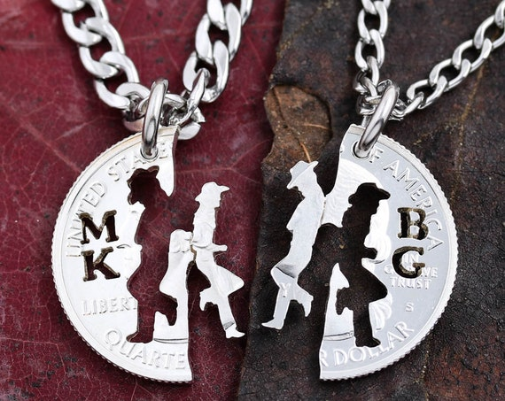 Cowgirl Jewerly, His and hers Cowboy necklaces with initials, Western Couples Gifts, Personalized Matching set, Gifts for her hand cut coin