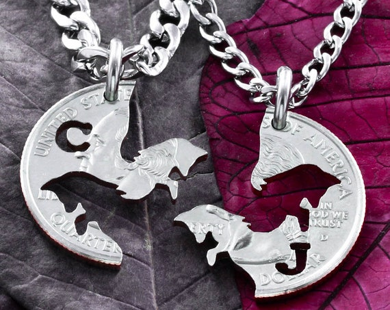 Fox Best Friends Jewelry, Custom Initials, BFF Gifts, Best Friends Forever Necklaces, Interlocking Relationship, Puzzle set, Hand Cut Coin