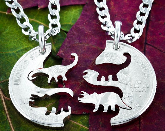 Triceratops and Brontosaurus Necklaces, Dinosaur Best Friend Gift Necklaces, Interlocking Set