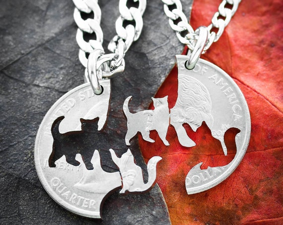 Cat Friendship Necklaces, Pet loss and Memorial Jewelry, BFF necklaces, hand cut coin