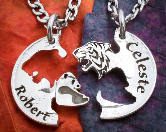 Tiger and Panda Necklaces with Custom Names Engraved, Name Jewelry, Best Friends or Couples Gifts, BFF, Interlocking hand cut coin