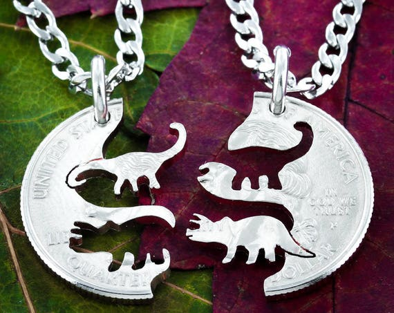 Dinosaur Best Friends Necklaces, Triceratops and Brontosaurus, BFF Gifts, Hand Cut on a Quarter
