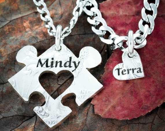 Couples Puzzle Necklaces with Names and Hearts , Personalized Jewelry,  His and Her anniversary gift