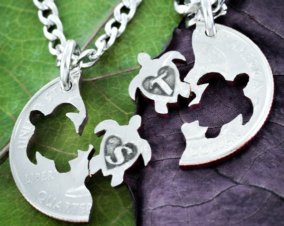 Turtles With Custom Initials Best Friends Necklaces, Turtle with Heart, Interlocking like a Puzzle, Hand cut coin