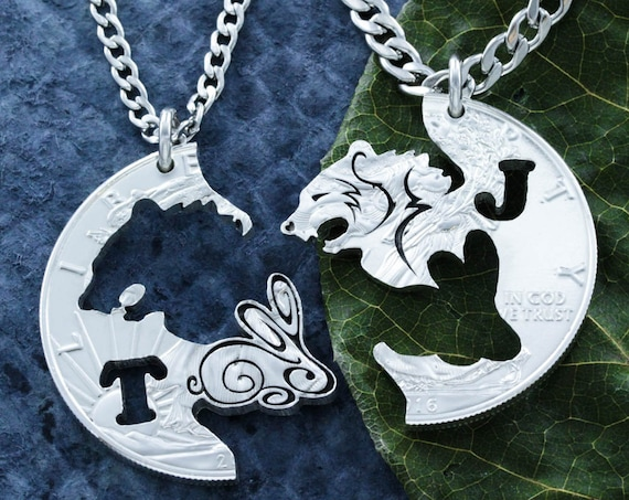 Bear and Bunny Engraved Necklace Set, Personalized Initials, BFF and Couples Necklaces Interlocking hand cut coin