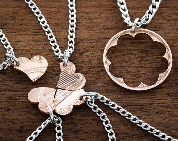 5 Best Friends Necklaces, BFF Gifts, Heart Puzzle, Copper Irish Coin, Friendship or Family Jewelry