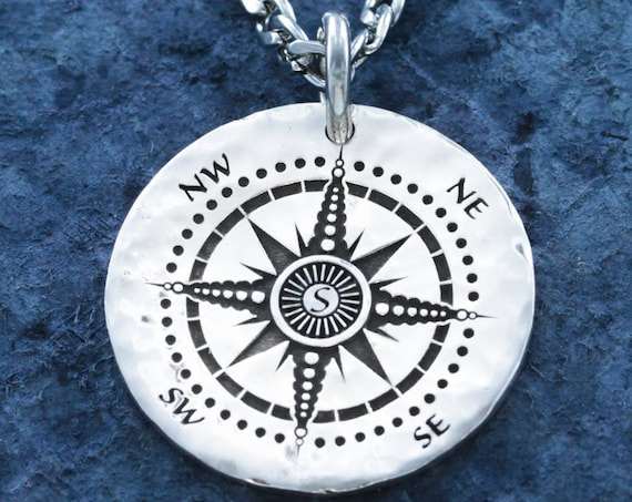 "Silver Compass necklace, Engraved into a Hammered Silver Coin or Disk, with ""Love you to the Moon & Back"" engraved on the back"