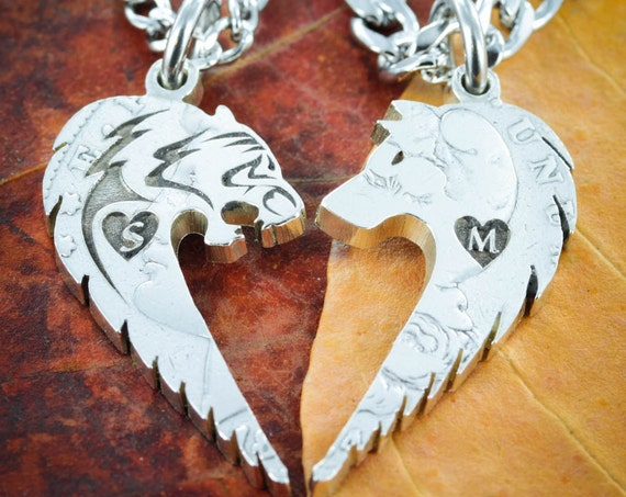 Tribal Tiger and Wolf Couples Necklaces , Custom initials Engraved in Hearts, Hand Cut Coin, Relationship Jewelry
