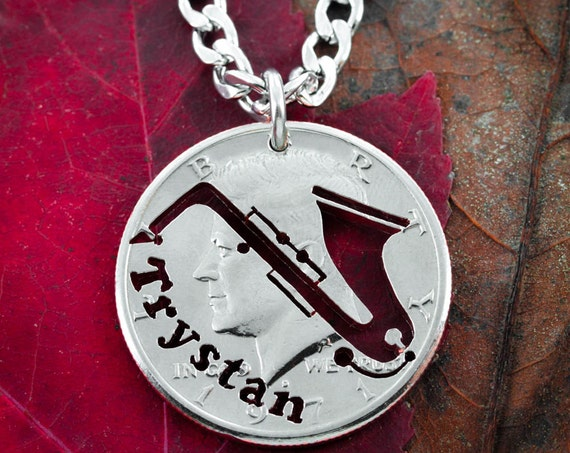 Saxophone With Name necklace, Custom Music Jewelry Charm, Cut by hand from a Coin