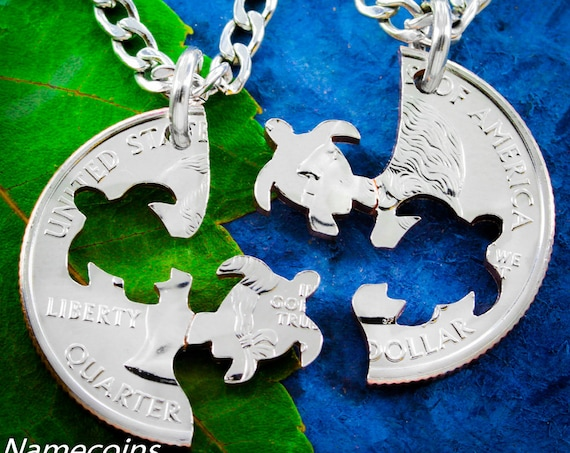 Turtle BFF Necklaces, Best Friends Gifts, Friendship Set, Interlocking Hand Cut Coin