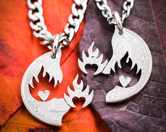 His and Her Hearts on Fire Couples Necklaces, Fierce Love Jewelry, Boyfriend and Girlfriend Gift, Marriage, Anniversary or Wedding Present