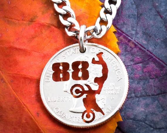 Dirt Bike Necklace, Custom Jersey Number, Motocross Jewelry, Dirtbike Gift, Boyfriend Present, Hand Cut Quarter