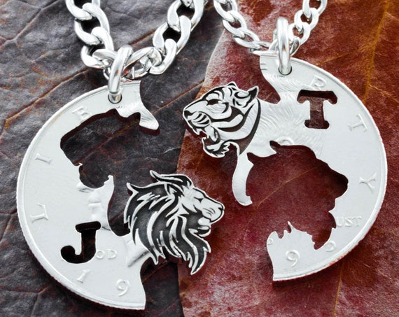 Tiger and Lion Couples Jewelry, Custom Initials, BFF or Couples, Tigress Jewelry, Best Friends Gift, hand cut coin, By Namecoins