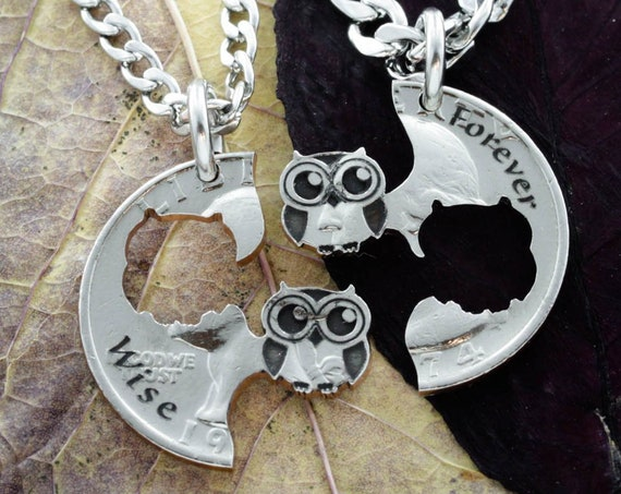 Owl BFF Necklaces, Best friends Gifts, Personalized Engraving, Hand Cut Quarter
