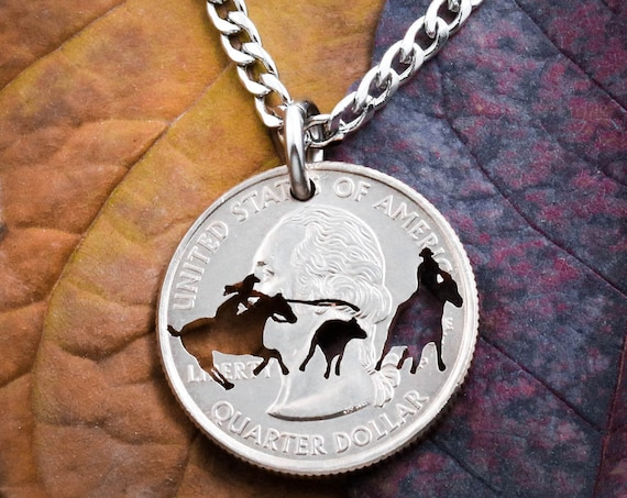 Woman Calf Roper Necklace, Team Roping, Western jewelry hand Cut Coin