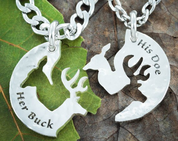 Silver His Buck and Her Doe Necklace, Hammered Silver, Couples Jewelry, Interlocking Relationship Set