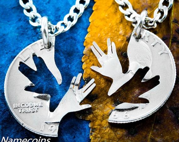 Star Trek Inspired Jewelry, Nerd BFF Necklaces, Vulcan Farewell Set, Geekery on a 1966 Interlocking cut coin