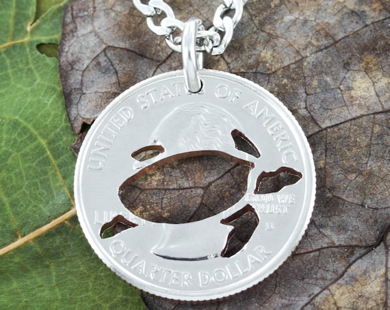 Sea Turtle Jewelry, Hand Cut Turtle on Quarter