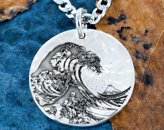 Great Wave Off Kanagawa Silver Necklace