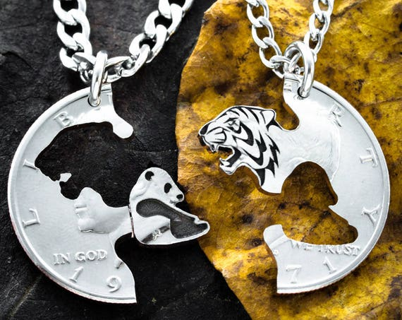 Tiger and Panda Necklaces for 2, Best Friends or Couples Gifts, BFF, Interlocking hand cut coin